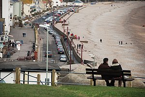 Seaton, Devon - Image: Seaton, Seated viewpoint overlooking beach and seafront geograph.org.uk 1720693