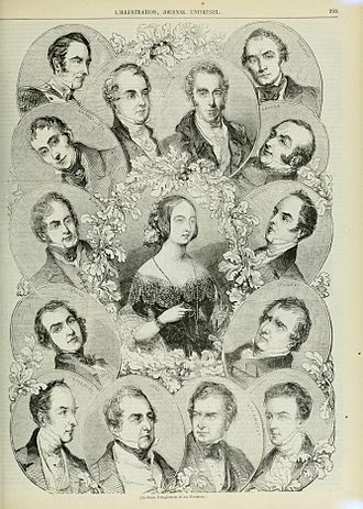 Second Peel ministry - Contemporary engraving showing the members of the Peel ministry