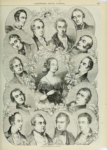 Contemporary engraving showing the members of the Peel ministry