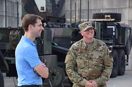 Senator Cotton visits Air Defenders at Osan Air Base during his three-country tour to Japan, South Korea, and Taiwan Sen. Tom Cotton visits Air Defenders in Korea 150815-A-DY706-004.jpg