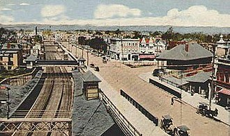 Roseville Avenue station - A view of Seventh Avenue, Newark in the Roseville District in the early 1900s. The entirety of the station is visible in this aerial.