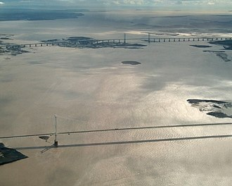 Second Severn Crossing - Looking southwest towards the Bristol Channel – the Prince of Wales Bridge is in the distance; the original Severn Bridge is in the foreground