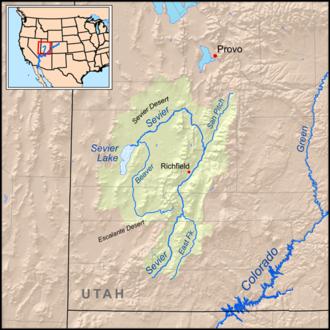 Sevier Lake - Map of the Sevier Lake drainage basin