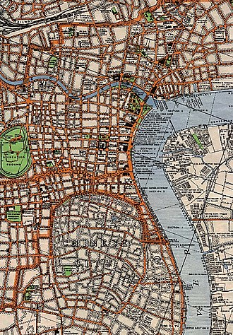 Lujiazui - Lujiazui is the light area on the right of this 1933 map, facing the Bund across the river