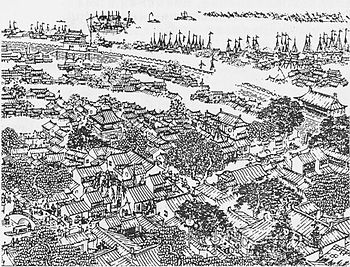 A drawing of the walled city of Shanghai, duri...
