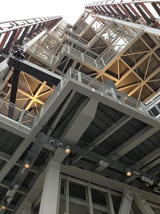 The Shard - Internal structure of the Shard's spire and radiator floors, seen from the 72nd-floor observatory