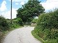 Sharp corner on the Llangeinwen road at the entrance to Pwll-yr-hwyiaid - geograph.org.uk - 850192.jpg