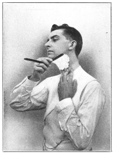 Shaving Made Easy, 1905 - Shaving the left side under the jaw.png