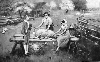 "Hugh Lawson White - Lloyd Branson's ""Sheep-shearing scene,"" showing Hugh Lawson White (left), his future father-in-law Samuel Carrick (middle), and future wife, Elizabeth"
