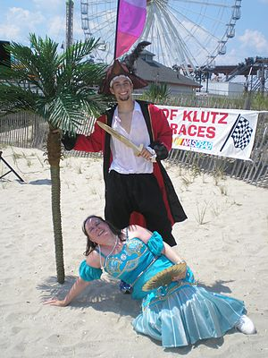 Suzanne Muldowney - Muldowney dressed as Shelly the Mermaid at the Annual Hermit Crab Races in Ocean City, New Jersey.  Muldowney is accompanied by Dan Gaspar, an employee of a local business, Air Circus Kite Shop.
