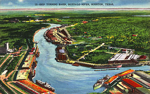 Buffalo Bayou - Postcard illustration of the Houston Ship Channel Turning Basin north of Magnolia Park, 1914–1924