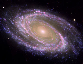 Density wave theory - Image of spiral galaxy M81 combining data from the Hubble, Spitzer, and GALEX space telescopes.