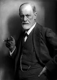 A black and white photograph of Sigmund Freud
