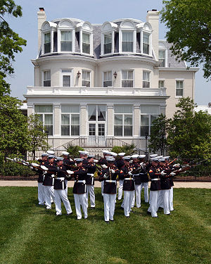 Exhibition drill - The United States Marine Corps Silent Drill Platoon performs in front of the home of the Commandant of the Marine Corps.