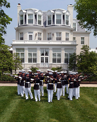 United States Marine Corps Silent Drill Platoon - The Silent Drill Platoon performs in front of the home of the Commandant of the Marine Corps