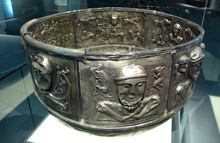 The Gundestrup cauldron, today in the National Museum of Denmark in Copenhagen. Silver cauldron.jpg