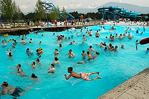 Wave pool - The outdoor wave pool of Boulder Beach at Silverwood Theme Park