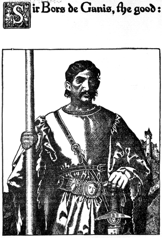 Bors - Sir Bors de Ganis in Howard Pyle's illustration for The Story of Sir Launcelot and His Companions (1907)