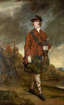 A full-length portrait of John Murry, 4th Earl of Dunmore, dressed in tartan and kilt