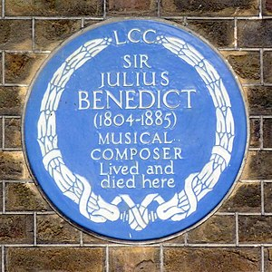 Julius Benedict - Plaque commemorating Benedict