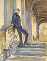 Sir Neville Wilkinson on the Steps of the Palladian Bridge at Wilton House.jpg