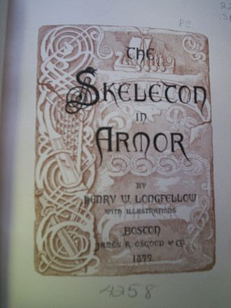 """The Skeleton in Armor - Cover page for an 1877 edition of Longfellow's """"Skeleton in Armor"""""""