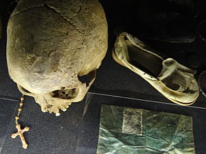 Kigali Genocide Memorial Centre - Skull and belongings of Genocide victims at the centre