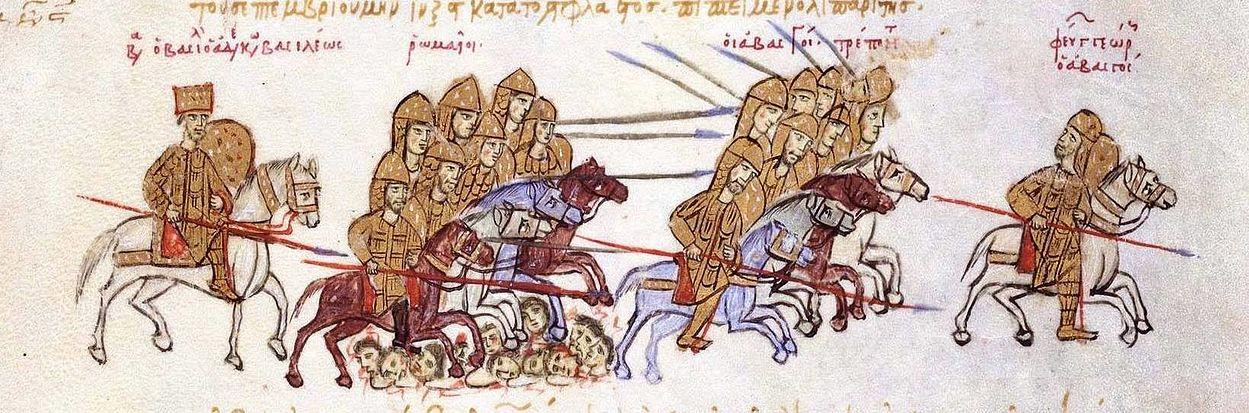 Bizans-gürcü müharibəsinə aid miniatür; sol tərəfdə II Vasili, sağ tərəfdə isə təqib olunan I Georgi.
