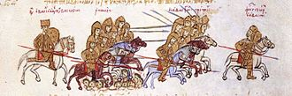 "Byzantine–Georgian wars - A miniature depicting the defeat of the Georgian king George I (""Georgios of Abasgia"") by the Byzantine emperor Basil II. Skylitzes Matritensis, fol. 195v. George is shown as fleeing on horseback on the right and Basil holding a shield and lance on the left."