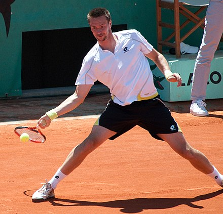 Soderling became the first Swede to reach the French Open final in 2009 since his coach Magnus Norman in 2000. Soderling Roland Garros 2009 3.jpg