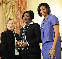 Sonia Pierre with Hillary Clinton and Michelle Obama 2010-03-10.jpg