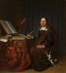 Portret mężczyzny piszącego przy stole (Uczony w pracowni)