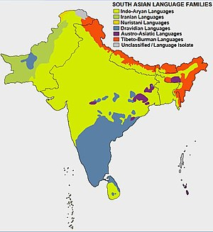 South Asia - Ethno-linguistic distribution map of South Asia.