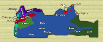South Region (Cameroon) - Locations of South Province ethnic groups