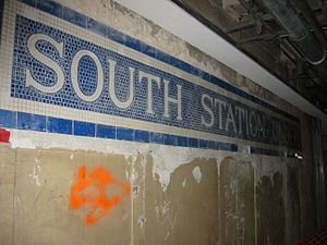 South Station (MBTA station) - Tile mosaic being restored in 2005