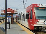 Southbound TRAX Red Line at 4800 W Old Bingham Hwy station, Apr 16.jpg