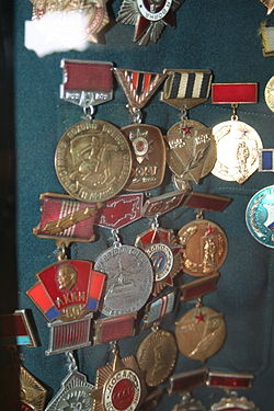 Soviet medals on the military uniform of Ahmadiyya Jabrayilov.JPG