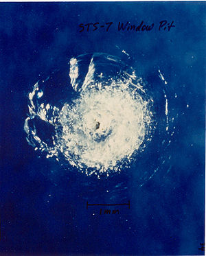 English: An impact crater on one of the window...
