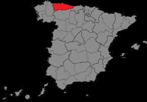 Asturias (Congress of Deputies constituency) - Location of Asturias within Spain
