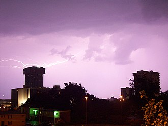 Springfield, Missouri - Lightning over downtown Springfield
