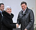 Srečanje predsednice Vlade Republike Hrvaške Jadranke Kosor in predsednika Vlade RS Boruta Pahorja ob njenem prihodu v Kranjsko goro 2010-01-13 (2).jpg