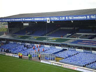 St Andrew's (stadium) - Main Stand showing Jeff Hall memorial clock, September 2008