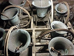 "Church bell - Example of full-circle bells in England in the ""up"" position."