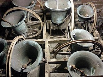 "Change ringing - The bells of St Bees Priory shown in the ""up"" position. When being rung they swing through a full circle from mouth upwards round to mouth upwards, and then back again."