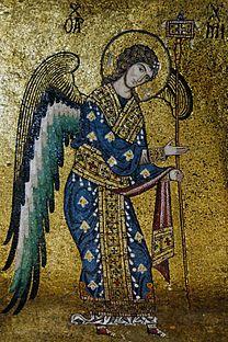 mosaic, michael, 12th-century, angel, archangel, byzantine, story