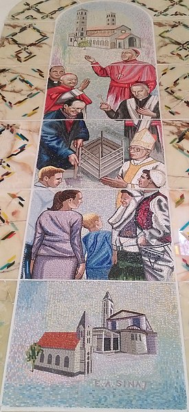 File:Stained glass depiction of Catholicism and Catholic life in Kosovo at the Cathedral of Saint Mother Teresa in Prishtina.jpg