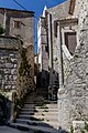 Stairs to the city center of Plomin, Istria County, Croatia 02.jpg