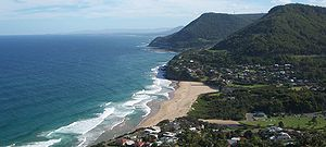 Stanwell Park, New South Wales - View from Bald Hill over Stanwell Park valley to Mount Mitchell, and the site of the Sea Cliff Bridge in the background