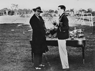 Charles Howard, 20th Earl of Suffolk - Lord Suffolk presenting a sporting cup at Scots College, Warwick, ca. 1929