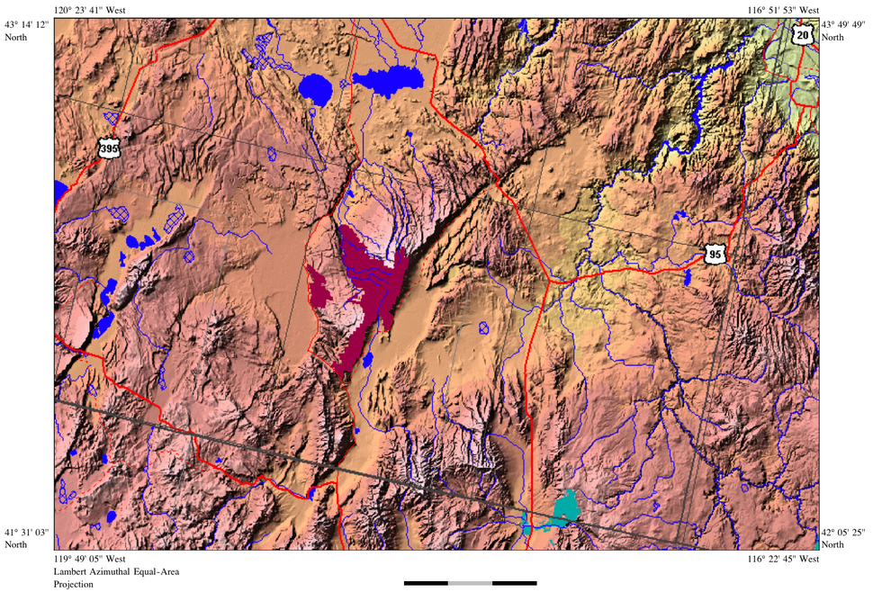 Steens Mountain relief map